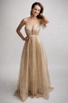 Brokatowa złota sukienka 2179