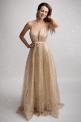 Długa suknia wieczorowa w pięknym jasno złotym kolorze - Luna