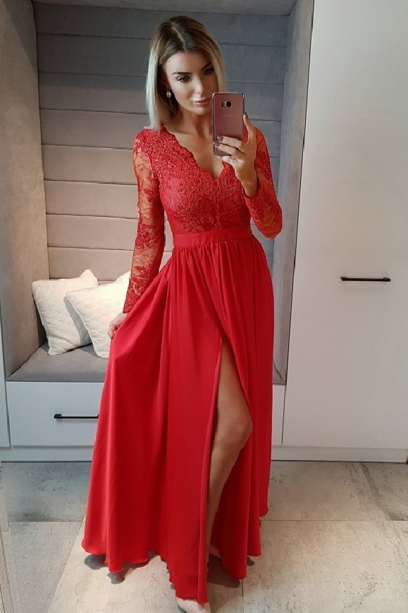 Suknia wieczorowa z długim rękawem i jedwabistym dołem |Długa sukienka kolorze ciemnego wina- Luna