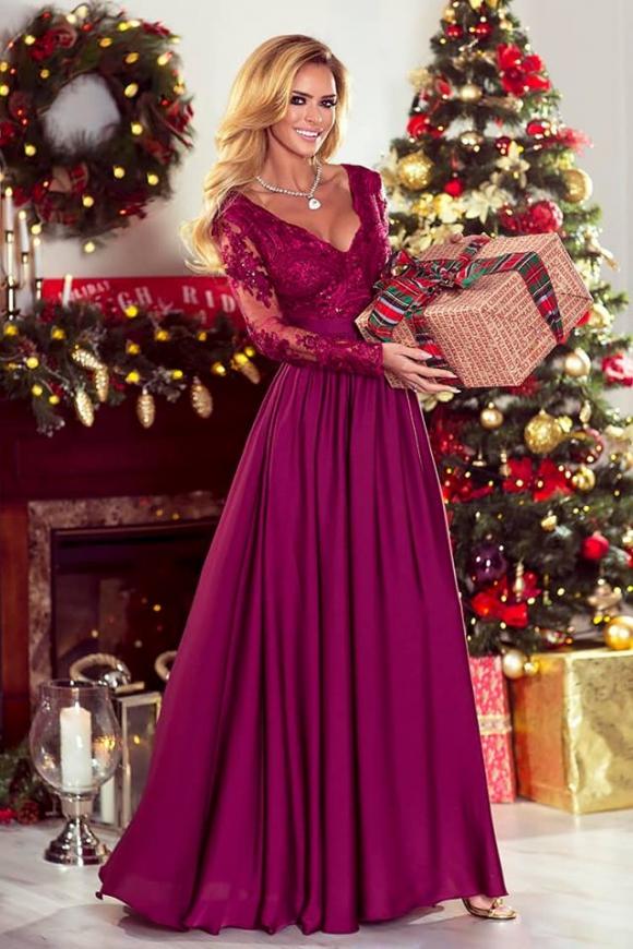 Burgundowa długa suknia na studniówkę, wesele, Luna