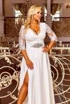 Długa wyszczuplająca sukienka ślubna zdobiona koronką i cekinami Crystal