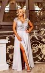 Jasno szara sukienka wieczorowa z rozcięciem ukazującym nogę Crystal 2