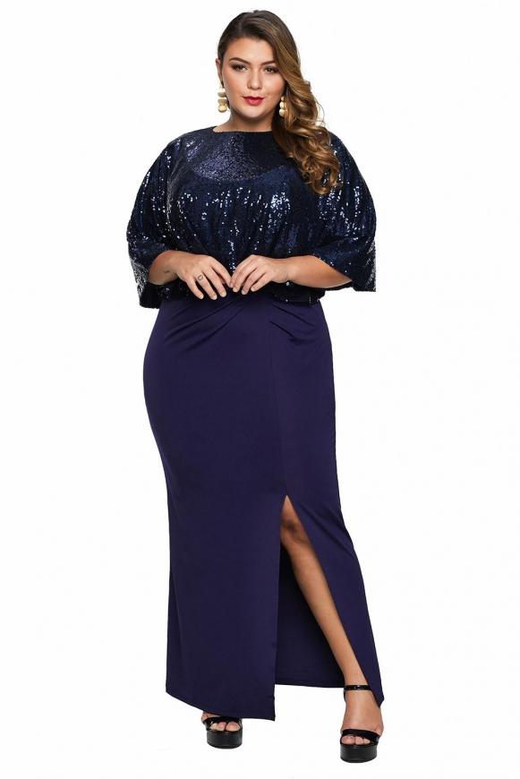 Długa granatowa sukienka plus size z cekinową narzutką, sukienka 2w1
