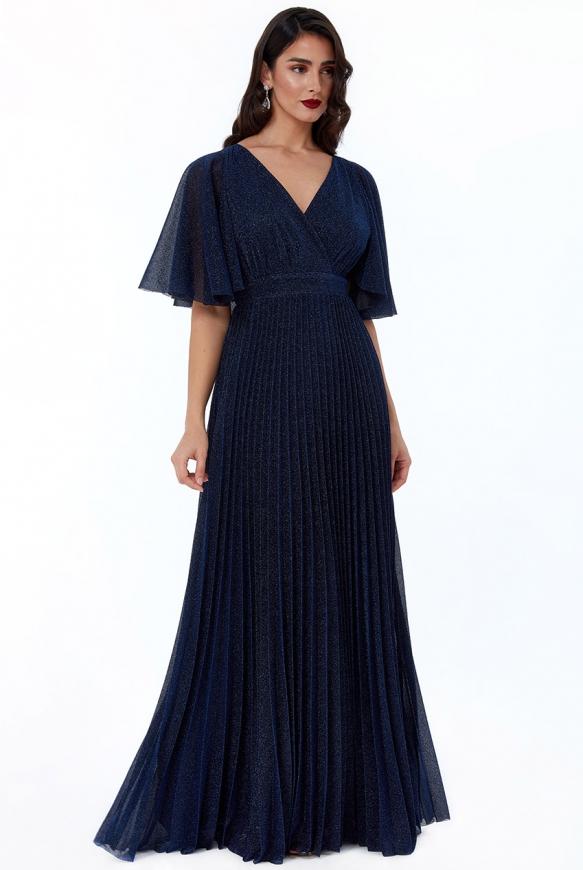 Granatowa sukienka lureksowa z połyskującą nicią