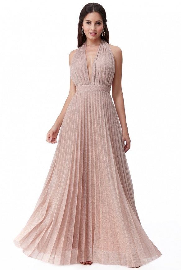 Lureksowa suknia plisowana w kolorze beżowo różowym