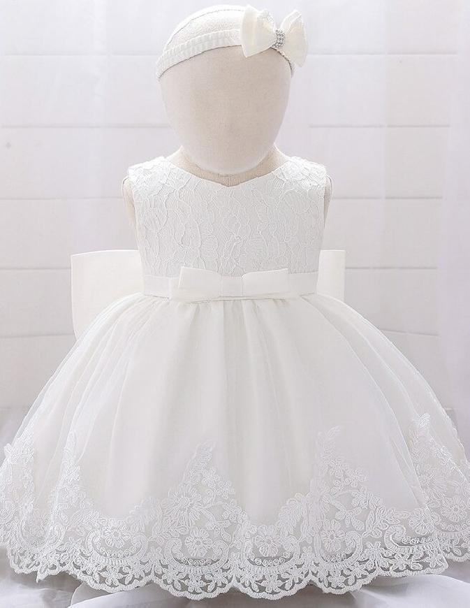 Sukienka na chrzciny dla dziewczynki + opaska w komplecie