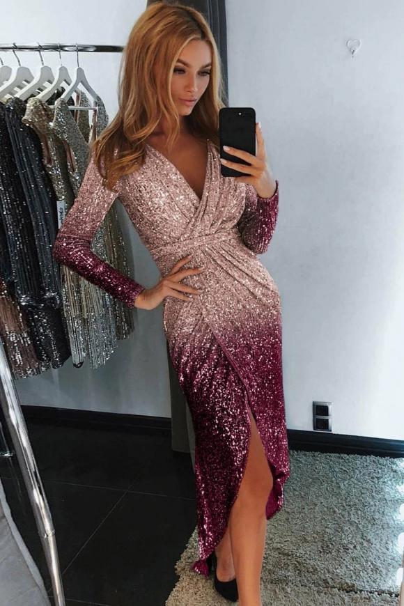 Cekinowa sukienka ombre, złoto fioletowa