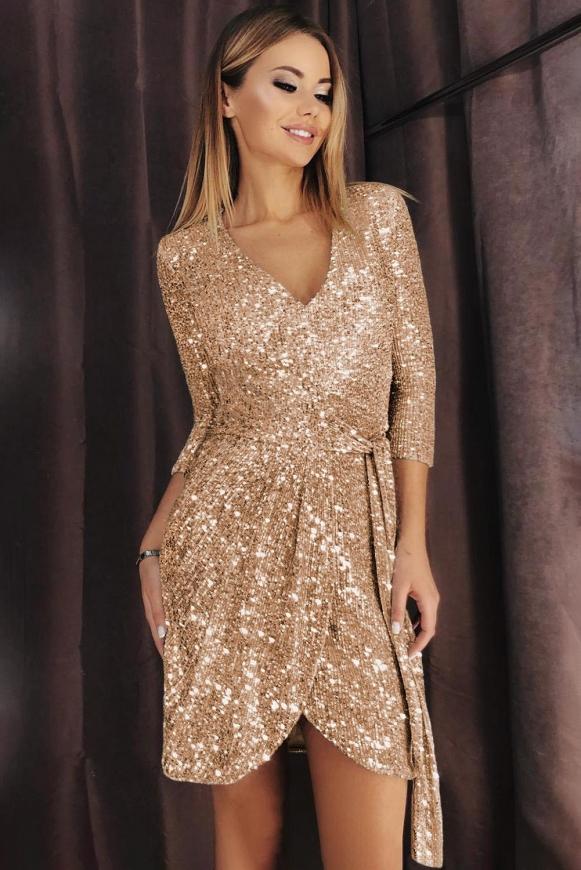 Złoto brzoskwiniowa cekinowa sukienka sylwestrowa