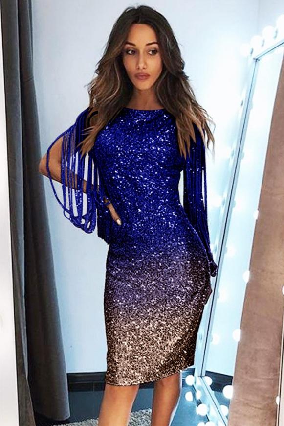 Chabrowo złota cekinowa sukienka z modnymi rękawami