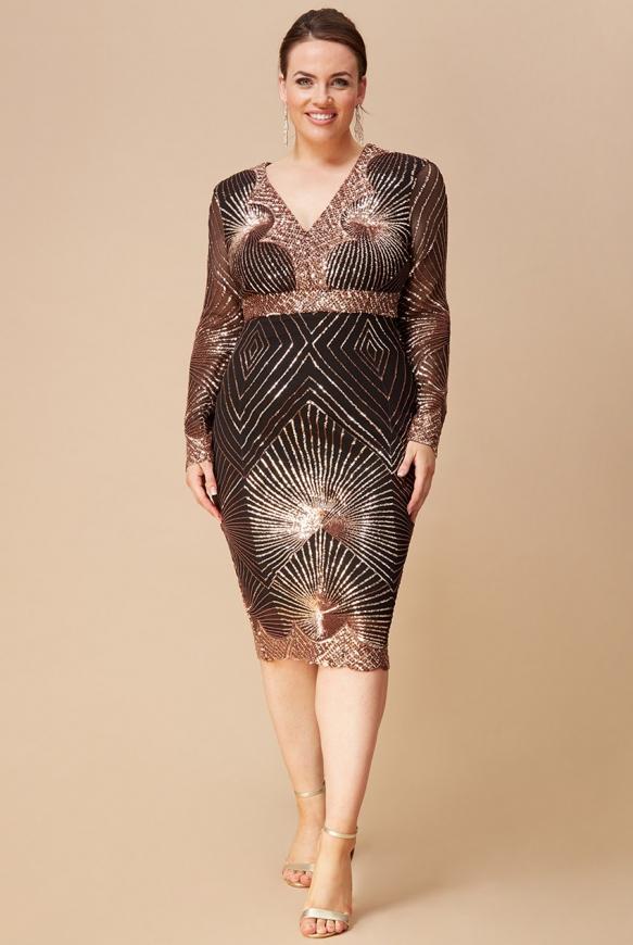 Zjawiskowa sukienka plus size z cekinami