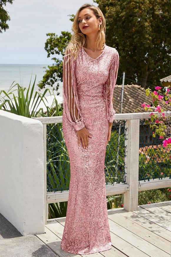 Jasno różowa sukienka cekinowa na sylwestra, na wesele