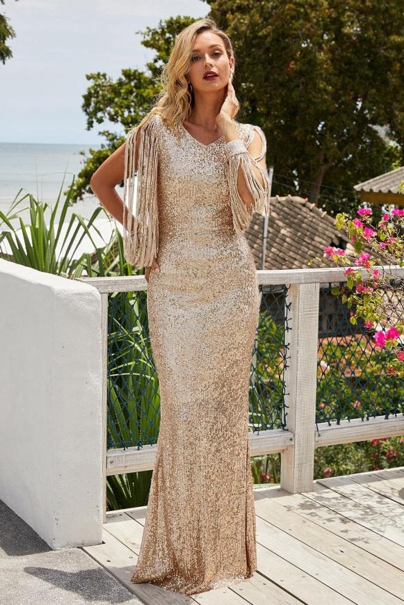 Złota cekinowa sukienka wieczorowa z długim rękawem