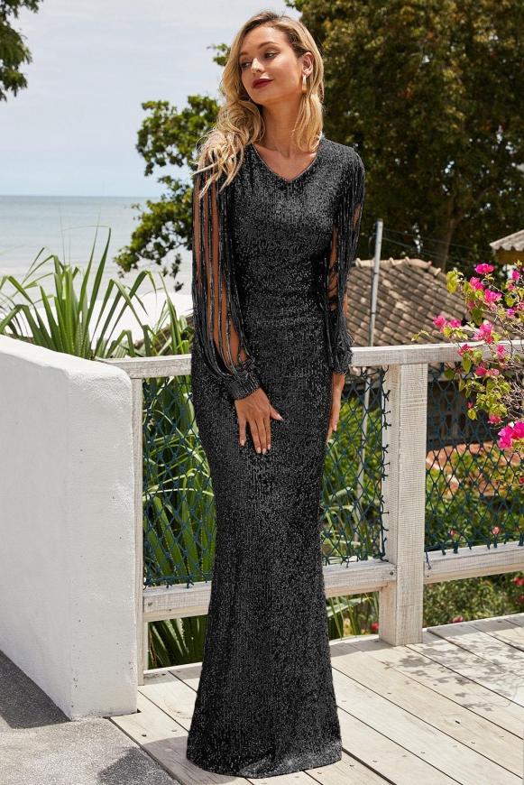 Czarna cekinowa suknia wieczorowa z ozdobnym rękawem