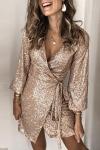 Złota sukienka cekinowa 071
