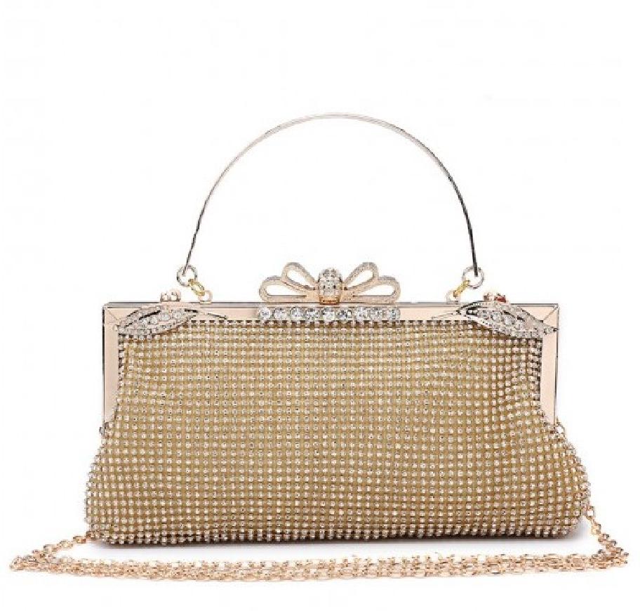 Wieczorowa torebka w stylu retro w kolorze złota