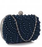 Wieczorowa granatowa torebka z perełek
