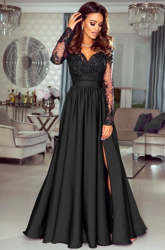 Sukienka na studniówkę, karnawał, bal. Długa czarna Luna EMO