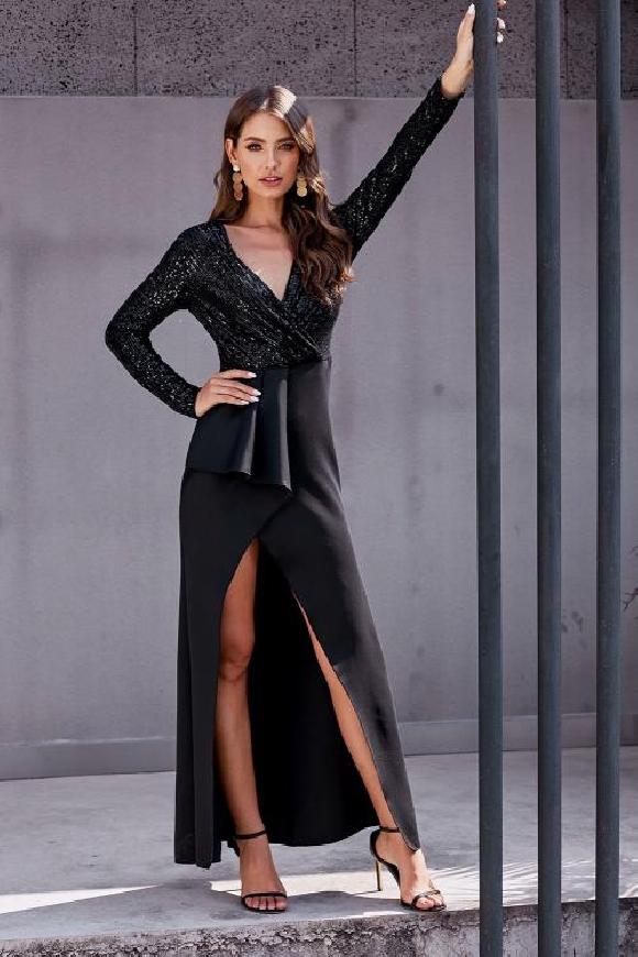 Szmaragdowa sukienka z cekinową górą
