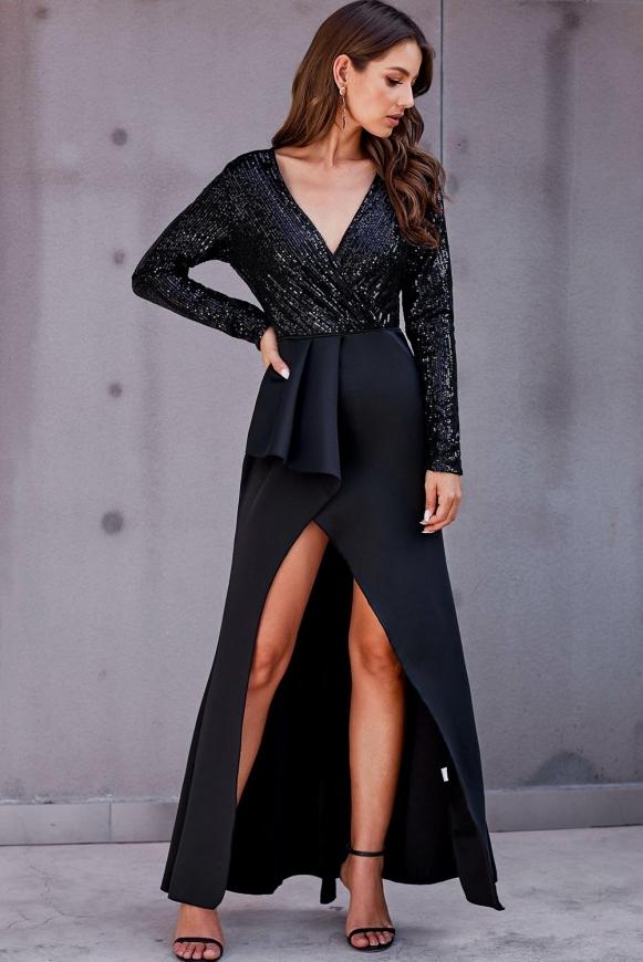 Beżowa sukienka z cekinową górą