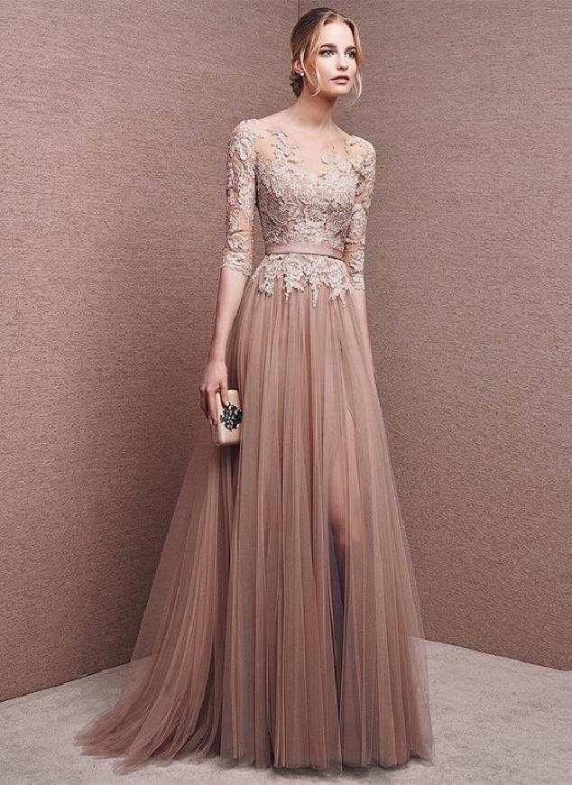 Jasno różowa sukienka wieczorowa