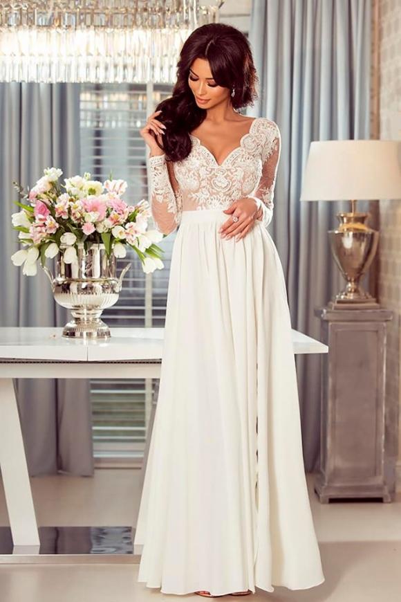 Ślubna suknia Luna biała z beżową podbitką