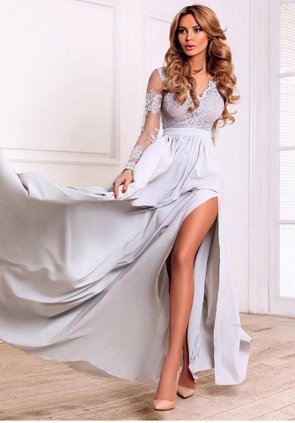 Jasno szara sukienka wieczorowa Luna