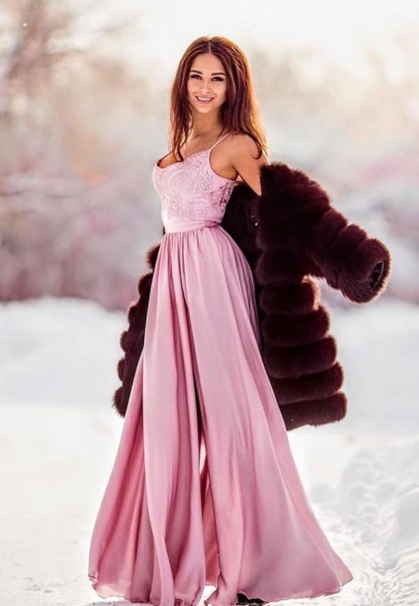 Długa suknia wieczorowa na cienkich ramiączkach, kolor lila, Bella