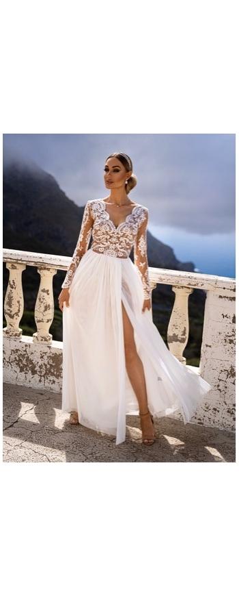 Ślubna sukienka tiulowa biała z beżową podbitką Adel