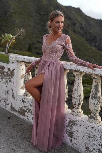 Zjawiskowa suknia na wesele, studniówkę. Adel brudny róż