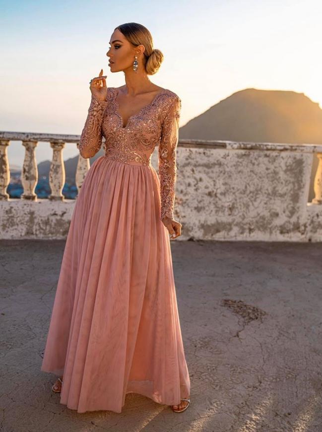 Brzoskwiniowo różowa suknia dla druhny, na wesele, Adel