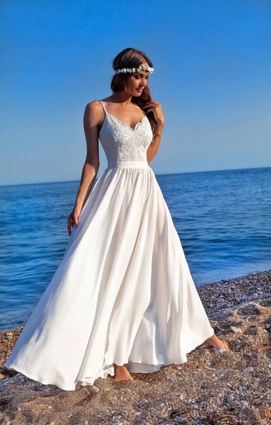 Ślubna sukienka delikatna na cienkich ramiączkach, Bella