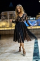 Sukienka midi tiulowa karmelowe złoto RENE Emo