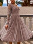 Sukienka midi tiulowa capuccino RENE Emo