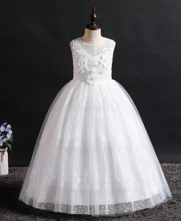 Komunijna długa sukienka z kwiatkami 3D - 831