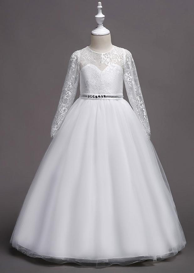 Biała suknia na komunię z koronką i kryształkowym paskiem 023