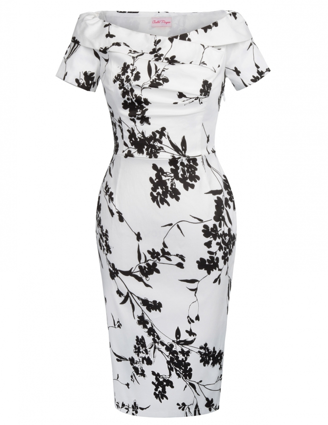 Biała sukienka ołówkowa w czarne kwiaty