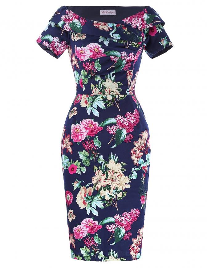 Granatowa sukienka ołówkowa z dekoltem carmen