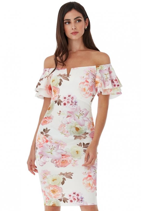 Kwiatowa ołówkowa sukienka carmen