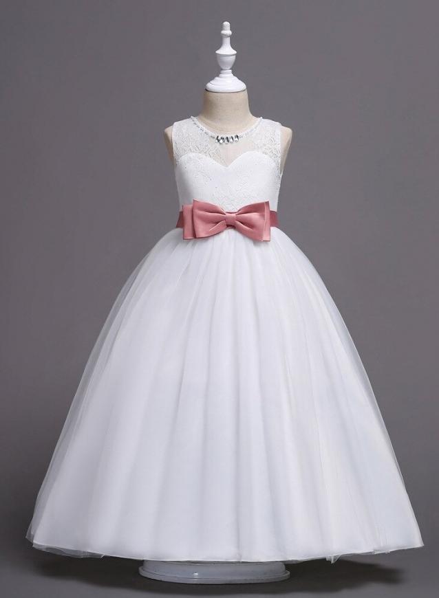 Biała długa sukienka dla dziewczynki z kokardką