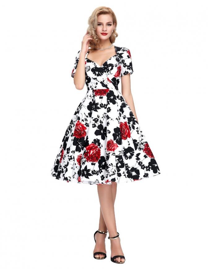 Elegancka sukienka pin up w kwiaty 028