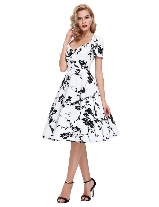 Biała sukienka rozkloszowana w czarne kwiaty 028