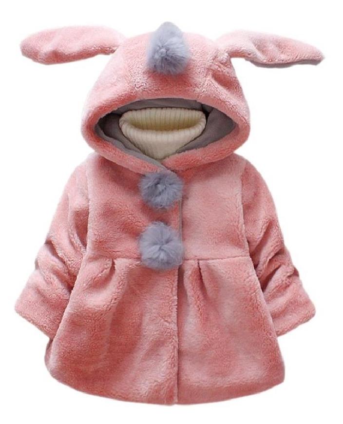 Płaszczyk dla dziewczynki zajączek z uszkami różowy
