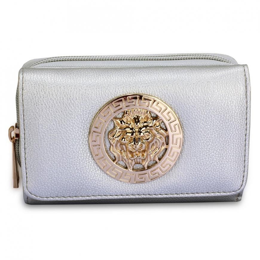 Srebrny portfel damski z lwem