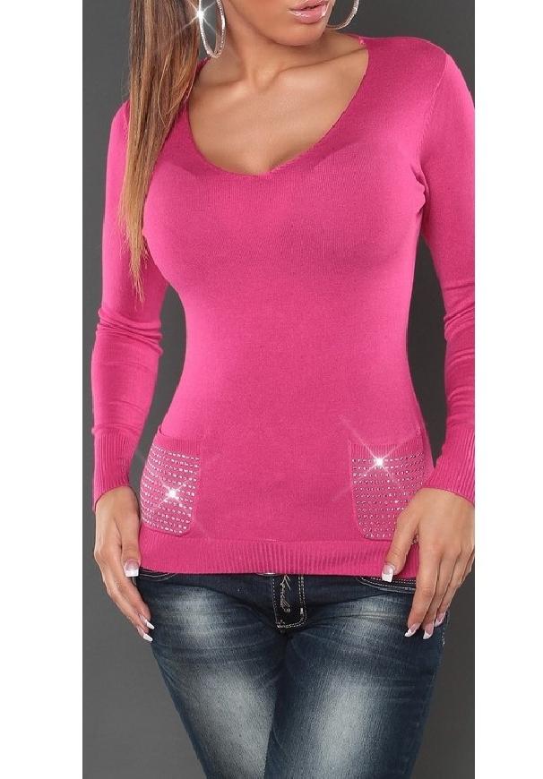 Różowy sweter damski z kryształkami