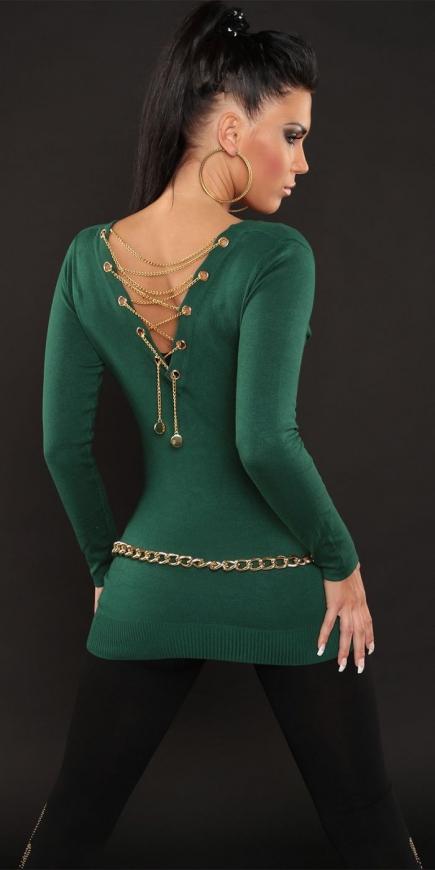 Butelkowo zielony sweter damski z dekoltem typu woda