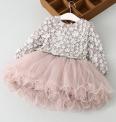 Piękna sukienka dziecięca z kwiatkami 3D