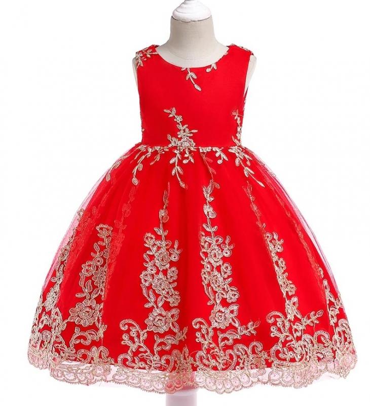 Czerwona elegancka sukienka dla dziewczynki
