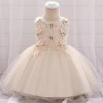 Jasno beżowa sukienka dla dziewczynki na wesele, święta, urodziny