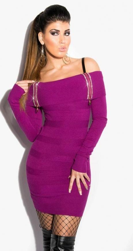 Fioletowa sukienka sweterkowa z dekoltem Carmen