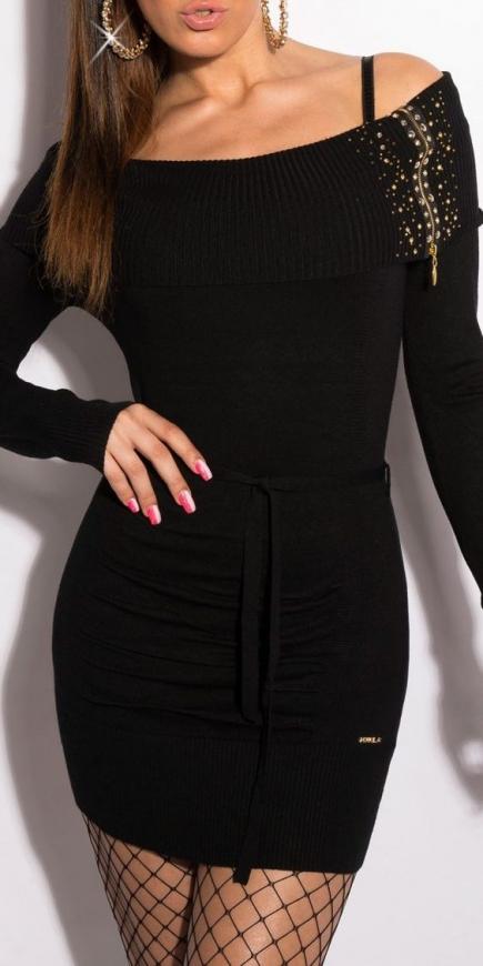 Czarna dzianinowa sukienka z dekoltem carmen